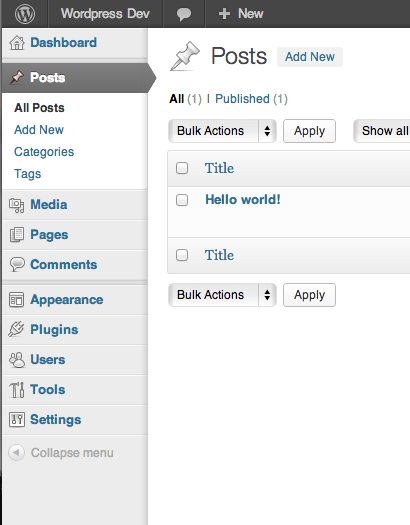 Screenshot of the vertical admin menu in WordPress 3.5