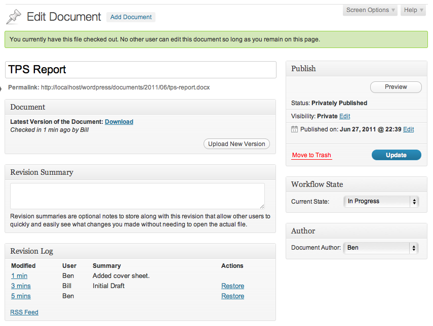 Wordpress Document Revisions Screenshot