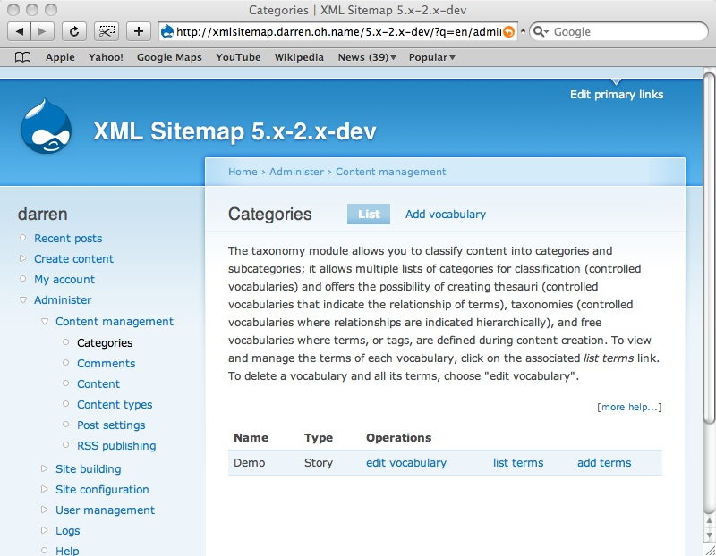 adding taxonomy terms to your site map drupal org